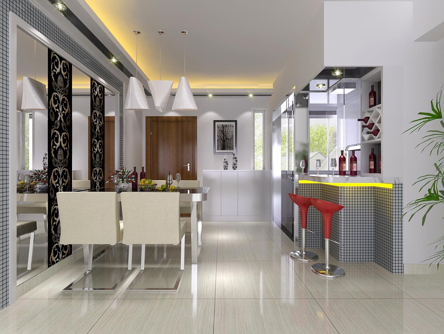 汇一城 简约 现代 浅色系 餐厅图片来自自然元素装饰在汇一城现代简约装修案例的分享