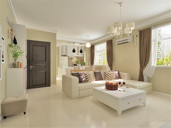 L型的沙发配以白色的茶几,整体整洁大方。沙发的后面是餐桌椅。