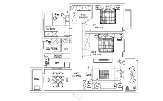 东方润景 现代简约 三居 家装 整体 户型图图片来自郑州实创装饰啊静在东方润景120平现代简约三居的分享