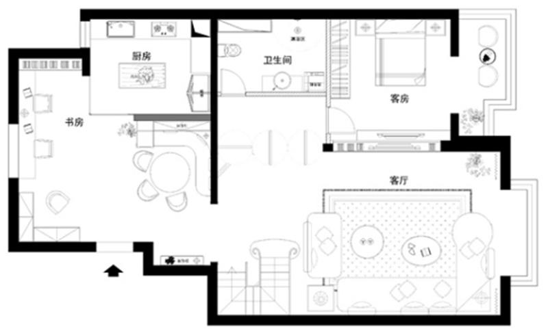 复试四居 现代简约 细节 户型图图片来自北京精诚兴业装饰公司在新怡家园的分享