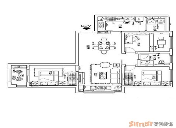 鑫苑现代城 中式 三居 家装 整体 户型图图片来自郑州实创装饰啊静在鑫苑现代城110平现代中式三居的分享