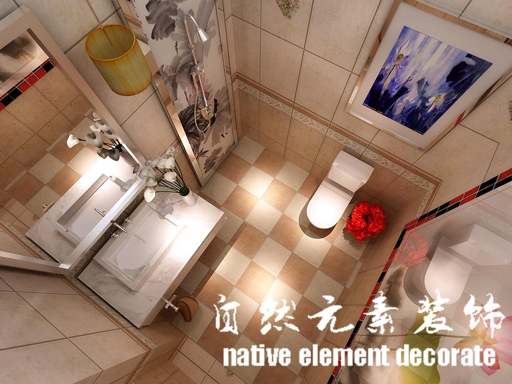 星航华府 中式 一居 卫生间图片来自自然元素装饰在星航华府中式风装修案例的分享