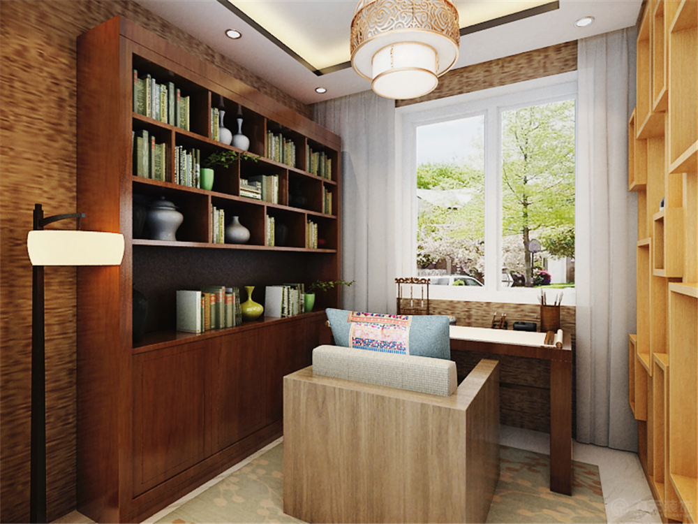 中式 二居 白领 收纳 80后 小资 书房图片来自阳光放扉er在北宁湾-94㎡-中式风格的分享