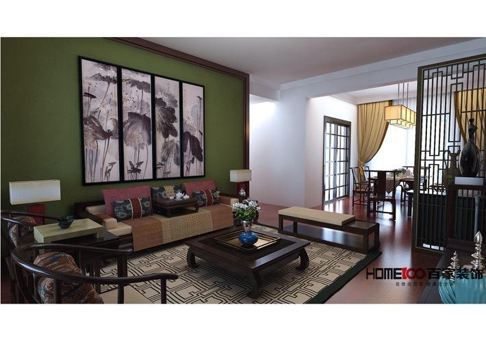 新中式 百家装饰 收纳 80后 小资 客厅图片来自百家装饰杨乐乐在雅居乐 155平新中式风格的分享