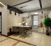 从顶面玻璃材质的运用到影视墙的冷暖材质的对比搭配,到石材吧台的深浅色调碰撞,使整个设计不拘一格,在简洁的基础上又不乏美感和实用。