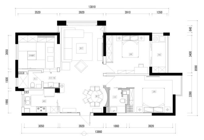 三居 欧式 户型图图片来自四川岚庭装饰工程有限公司在105平简欧三室二厅的分享