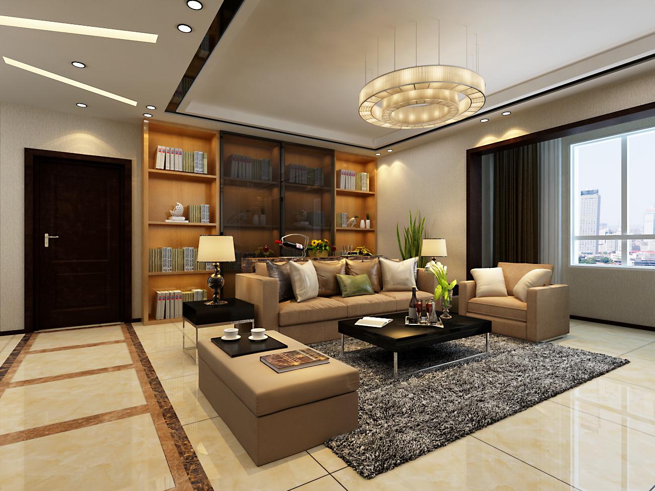 客厅图片来自天津科艺隆装饰在童年河-现代简约-130㎡的分享