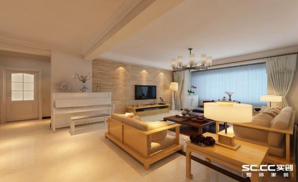 客厅设计: 电视背景墙通过装饰材料与色彩设计,为现代风格的室内效果提供了空间背景。在选材上不再局限于石材、面砖等天然材料所带来的质感,而是采用木地板及石膏砖作为主题