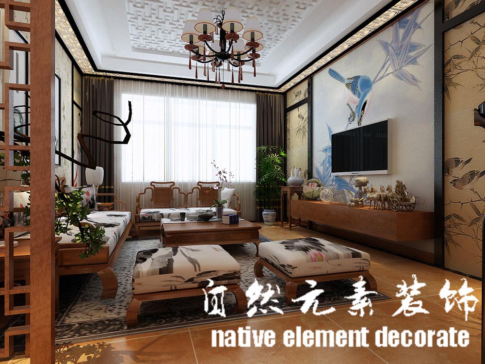星航华府 中式 一居 客厅图片来自自然元素装饰在星航华府中式风装修案例的分享
