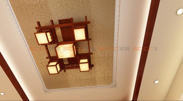 客厅的吊顶,金箔纸贴非常大气