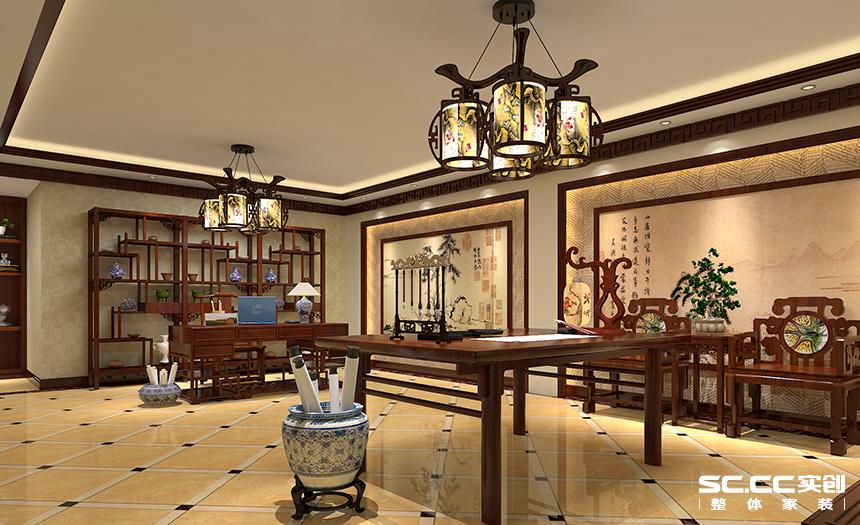 别墅 度假别墅 别墅装修 新中式装修 书房图片来自孙进进在青浦区独栋度假别墅诗意新中式的分享