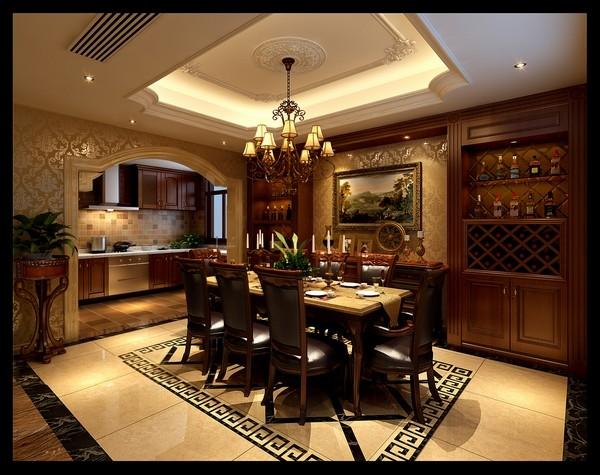餐厅美式、欧式混搭设计,家具及墙面装饰运用棕色及米色的搭配使整个空间游旎在两种风格之间,