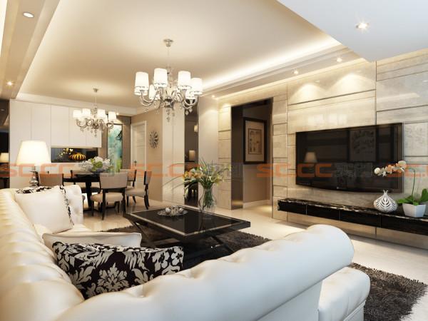 客厅运用地砖上墙,使原本的客厅显得更加的亮堂,现代感更加强烈,但是整体砖颜色的选择为米黄色,增强了整体的温馨感。