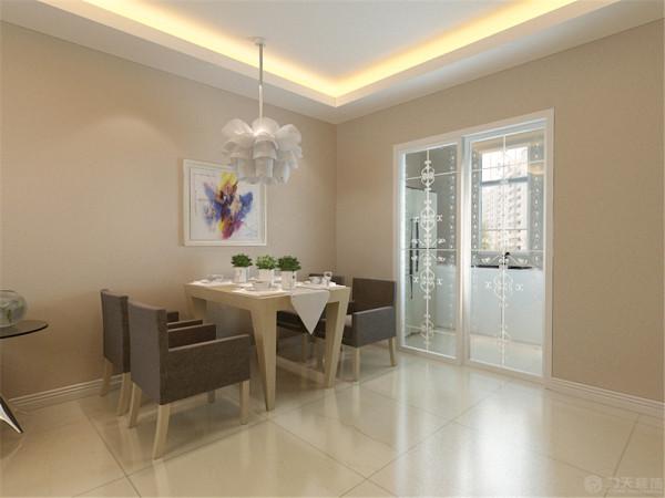 餐厅区域,餐桌选择了木色与白色做对比,餐桌的颜色与沙发的颜色比较统一,厨房采用了推拉门,整体感觉比较统一。一进门方向是卧室,为了增加业主的私密空间,做了一个鞋柜和珠帘。