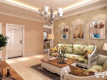 黄金海岸90平小三房田园风格设计