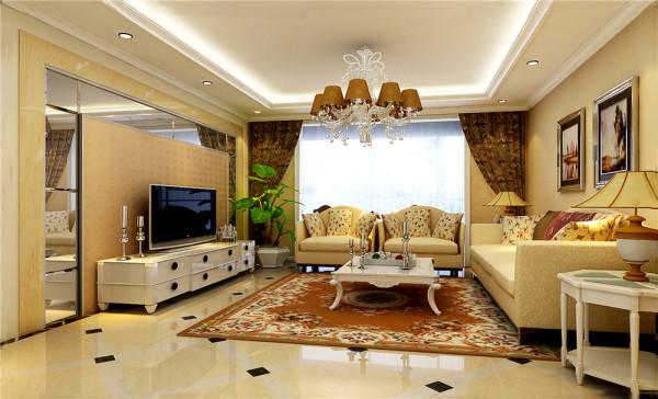 客厅是运用简单的拼花大地砖和墙面造型镜面的搭配使的空间简单大气 明显突出层次感给人一种自然温馨。