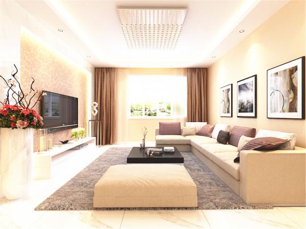 客餐厅卧室是采用现代风格,但书房却采用中式风格。先说客餐厅。客餐厅整体采用米黄色的墙漆,这样看上去比较温馨、舒适。