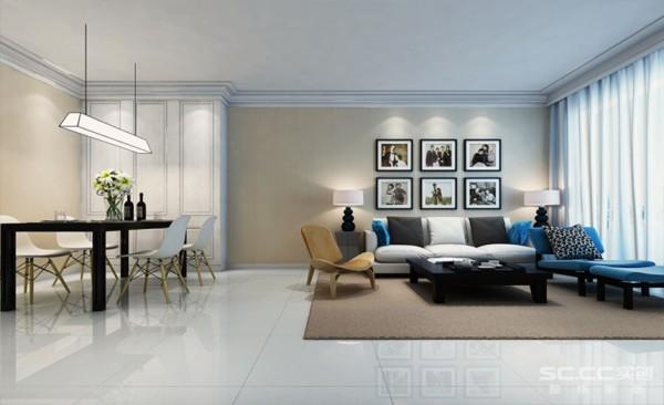 客厅电视背景墙的六幅抽象画是点睛之笔,丰富了空间,