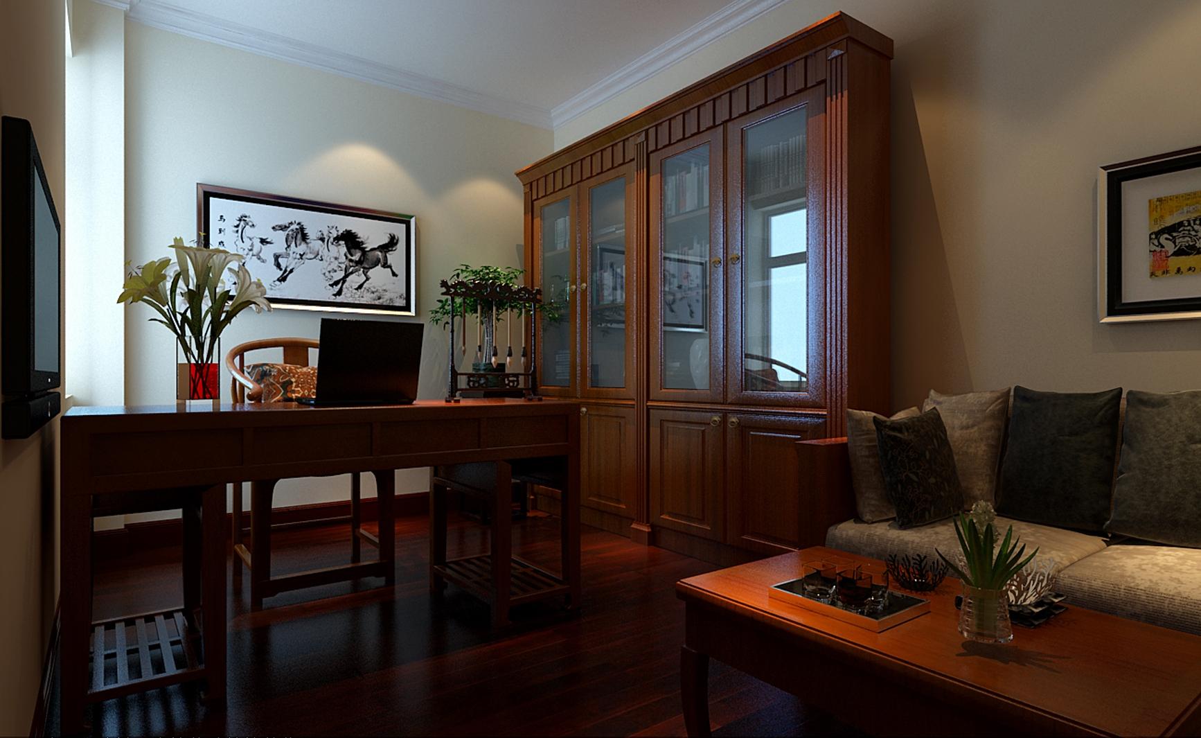 简约 中式 两居 书房图片来自实创装饰上海公司在徐汇区81.6平中式风格装修效果图的分享
