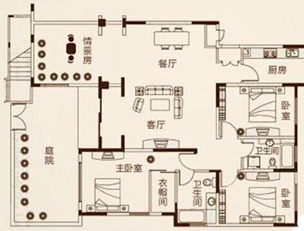 郑州鑫苑景园140平三室两厅美式装修效果图案例——户型平面布局方案