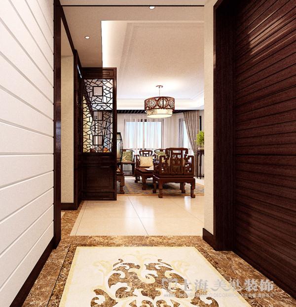 绿城百合180平方4室2厅新中式风格装修效果图---门厅装修案例