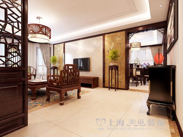 郑州绿城百合180平方四室两厅新中式装修方案---电视背景墙装修效果图