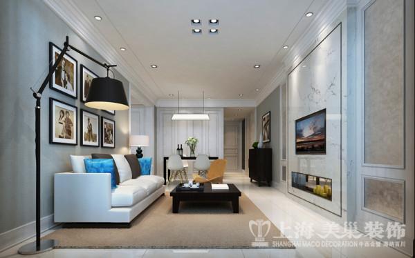 中豪汇景湾120平三室两厅装修简欧案例效果图——客厅全景效果图
