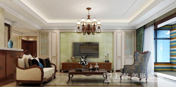鑫苑景园140平3室2厅美式乡村装修效果图样板间——电视墙效果图