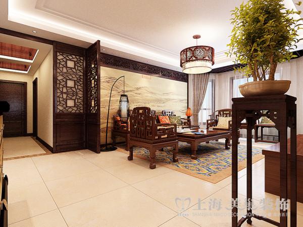 绿城百合180平方四室两厅新中式风格装修效果图---客厅装修案例设计