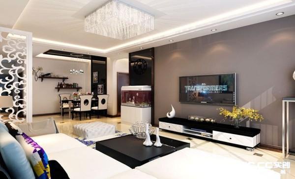 客厅设计: 采用直线型吊棚简单大方,电视墙采用灰色乳胶漆和直线型黑镜配合,充满现代感,体现出主人的喜好和个性。