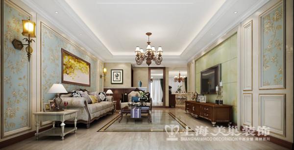 鑫苑景园三室两厅清新美式装修140平效果图案例——客厅装修效果图