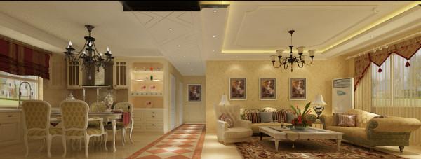 这一张是客厅和餐厅的全景图,整体空间的搭配把欧式风格的美展现的淋淋尽致,客厅的地毯,沙发背景墙的挂画,欧式的经典壁纸,走道上的个性花纹地砖,橱柜的搭配,吊顶的运用,慢慢去感受,你会爱上她的美。