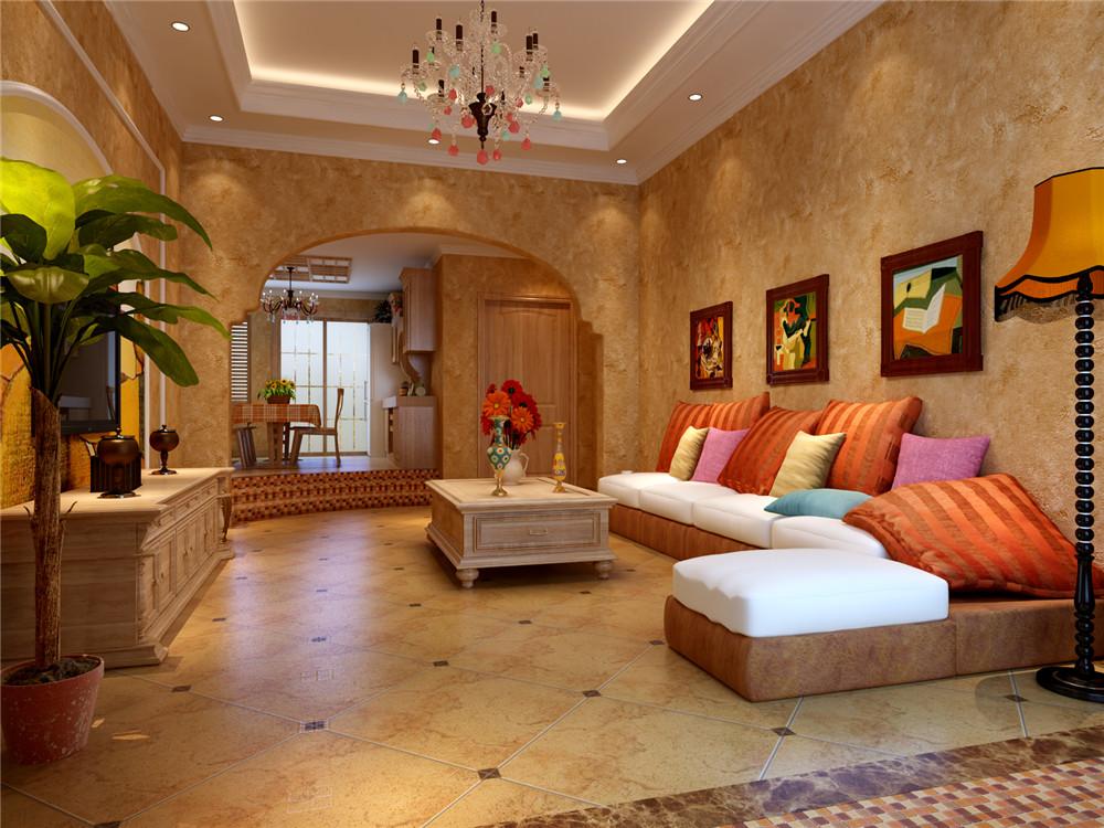 地中海风格 一居 旧房改造 客厅图片来自实创装饰上海公司在64平地中海风格装修效果图的分享