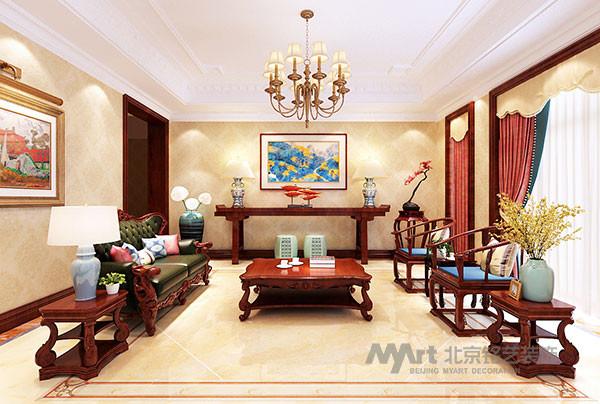 客厅的设计揉合古典宫廷的奢华与当代时尚元素。中式条案、桌椅的点缀,使得传统的中国文化很自然地融入到没事风格中,别有一番风味,同时也凸显了主人深厚的文化底蕴。
