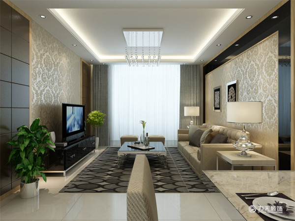 客厅部分的电视背景墙造型相对简洁大气,色调深浅对比,富有层次感。沙发背景墙与电视背景相呼应,同样用黑镜金色壁纸形成色彩上的对比,增强层次感