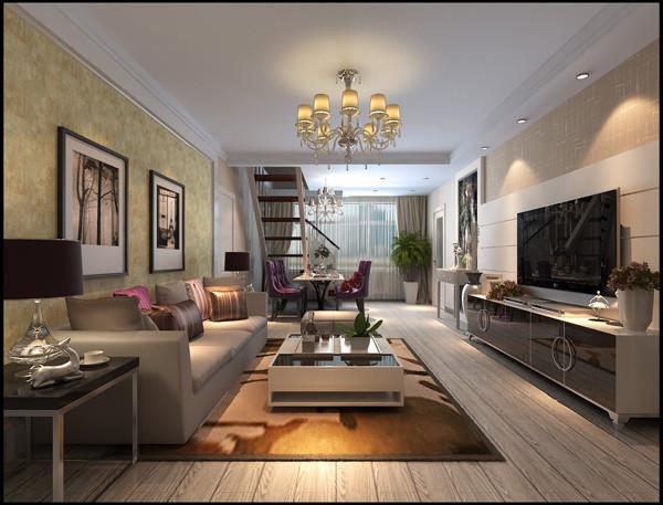 楼梯踏步延伸到二楼,首先映入眼帘的是开阔的二楼公共空间,简单略带花纹的书桌和通体定制的简单书柜既赋予了整个二层的开阔大气又体现了主人的文学气质,附带的健身区使得整体空间变得完整和赋予的功能体现
