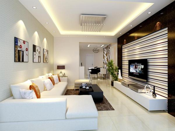 电视墙用横条型的墙纸在效果上拉伸电视的宽度。沙发背景墙用浅色的墙纸搭上几幅挂画,白色的电视柜与电视墙上的黑色石材造型相呼应,在装修设计上不用过多是装饰就可以幻化出你想要的感觉。