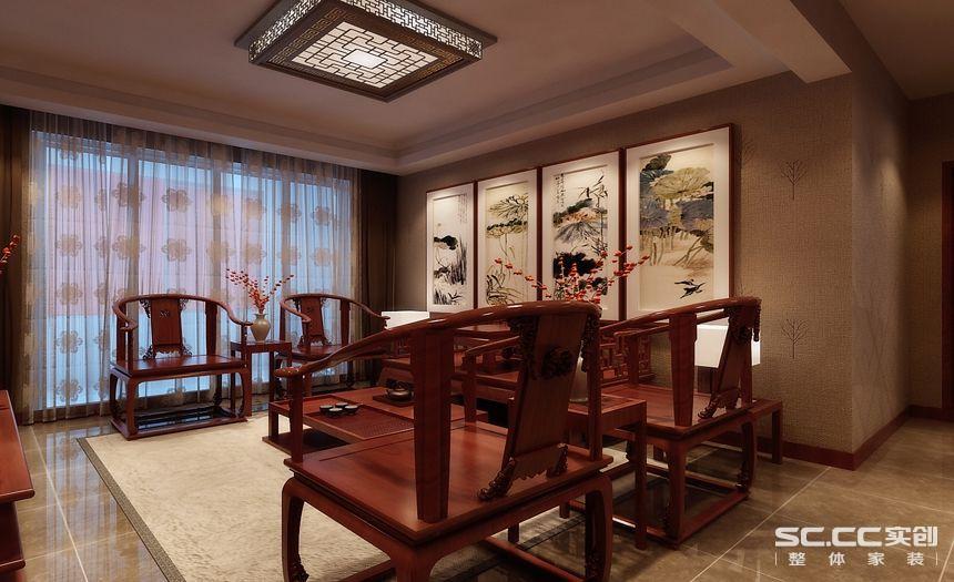 新中式 四居室 旧房改造 装修设计 装修公司 书房图片来自孙进进在四居室143平山水入室的新中式的分享