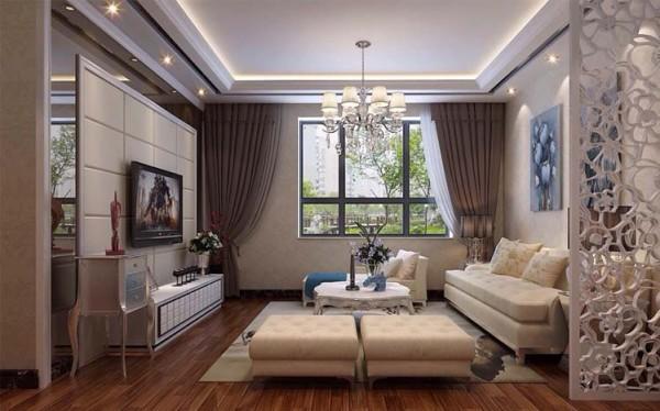 客厅的白色墙面与白色地毯散发出的是淡雅清新的现代简欧味道,时尚的白色调沙发与装饰品的摆放,让整个客厅营造出时尚、高贵、轻松、愉悦,给人的感觉是那样的宁静动人,增添了大气感,营造出一个朴实之中的时尚。