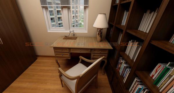 超大的书柜,增添了许多的书香气息