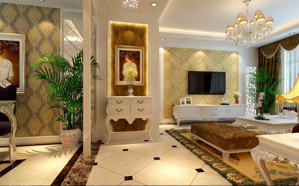 客厅的白色墙面加上浅黄色花纹的壁纸,时尚的米白色加紫色调沙发与电视背景墙的呼应,让整个客厅营造出时尚、高贵、轻松、愉悦的视觉感空间,营造出一个朴实之中的时尚简欧家居设计。