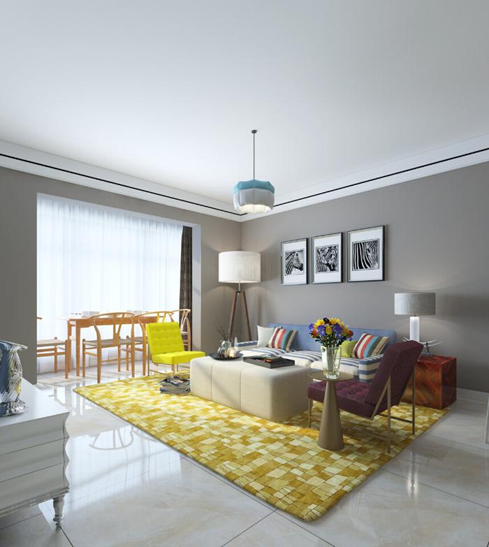 简约 三居 白领 客厅图片来自昆明易百装饰-km100zs在未名城95平米现代简约风格的分享