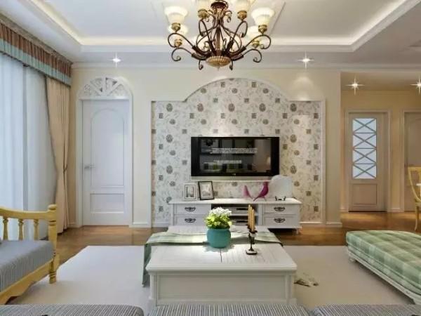 清新雅致的墙纸与客厅的整体格调相衬,不喧宾夺主而是锦上添花。