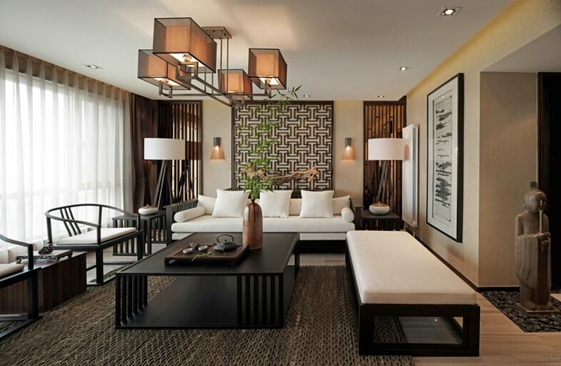 新中式 客厅图片来自紫禁尚品设计师李擎在西山艺境新中式案例的分享