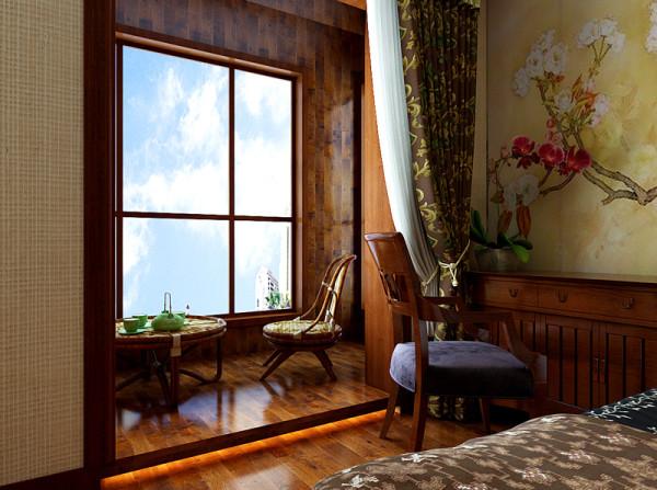 这里是主卧室阳台的设计装饰效果展示,这里做出一个休闲区,可以在这里喝茶、看书,因为是两室所以主卧兼备了书房的一部分功能。