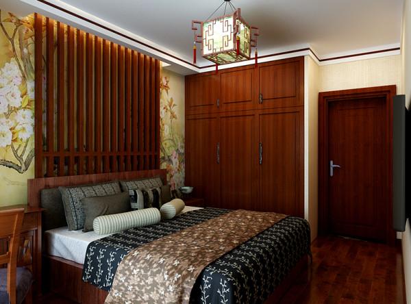 主卧室设计效果展示,主卧室做嵌入式衣柜设计,整体性更强、收纳性更好。