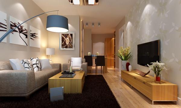 户型建筑面积90平米(三室一厅一厨一卫)。是一个典型的现代简约风格设计案例,此案设计以木质原色家具为主,浅灰色墙漆与墙漆呼应