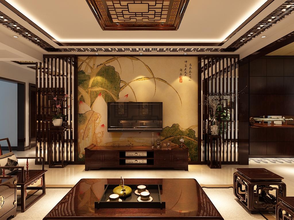 中式 三居 白领 收纳 小资 80后 客厅图片来自百家装饰杨乐乐在信达尚城157平的分享