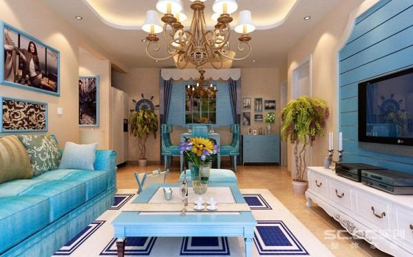 电视背景墙采用蓝色石膏板木条作为装饰,白色电视柜使整个背景墙稳重大气。