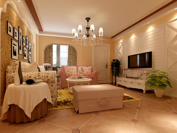 古香古色的仿古地板、碎花麻布沙发、拱形门廊构造等,融入米白色的主题色调中,打造出美式乡村田园色彩。沙发背景墙壁画的修饰,一种淳朴的乡村气息自然流露。